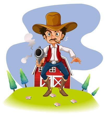 hombre disparando: Ilustración de un vaquero con un arma de fuego sobre un fondo blanco Vectores