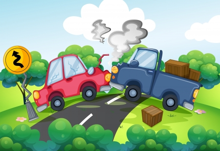 long road: Illustration of an accident at the road Illustration