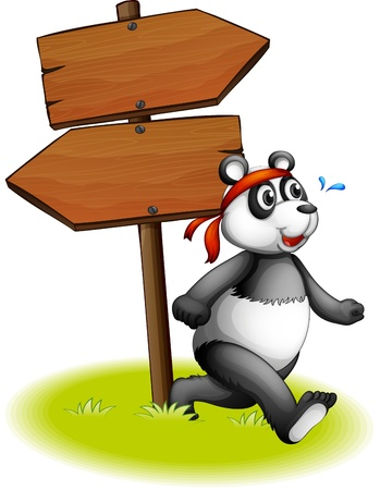Illustration of a panda beside the wooden arrowboards on a white background Stock Vector - 19873511