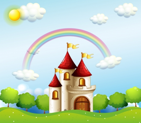 below: Illustration of a castle below the rainbow