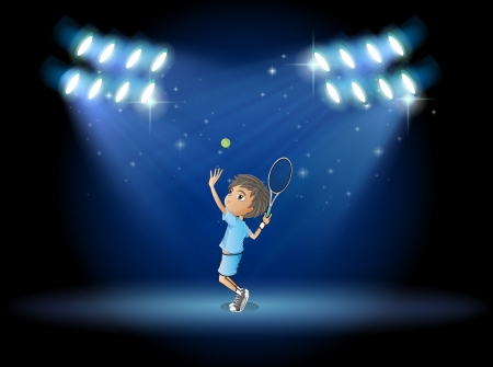 stageplay: Illustration of a boy playing tennis in the middle of the stage Illustration