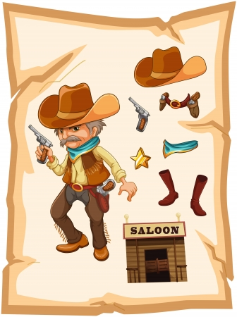 Illustration of a paper with a cowboy holding a gun on a white background Vector