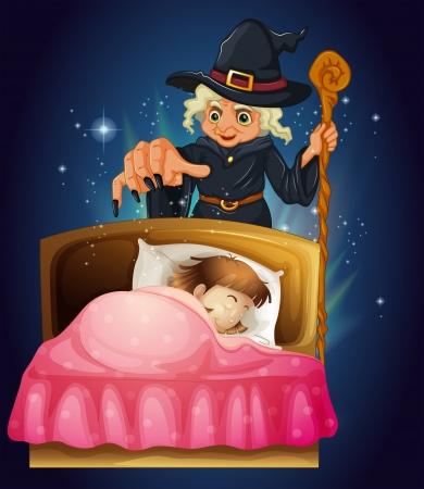 woman sleep: Ilustraci�n de una ni�a durmiendo con una bruja en la parte posterior Vectores