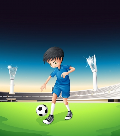 boys soccer: Illustration of a soccer field with a boy playing Illustration