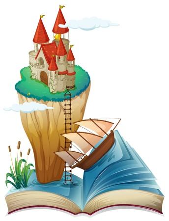 Illustratie van een boek met een kasteel op de top van een klif op een witte achtergrond