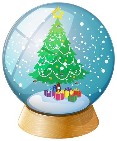 palle di neve: lllustration di una sfera di cristallo con un albero di Natale su uno sfondo bianco