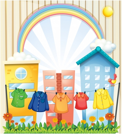 Illustration of the hanging clothes at the garden near the tall buildings Stock Vector - 19959377
