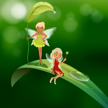 lllustration of the two playful fairies Vector