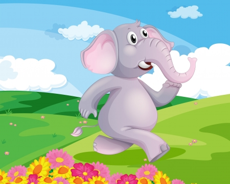 Illustration of an elephant running at the hill with flowers Vector