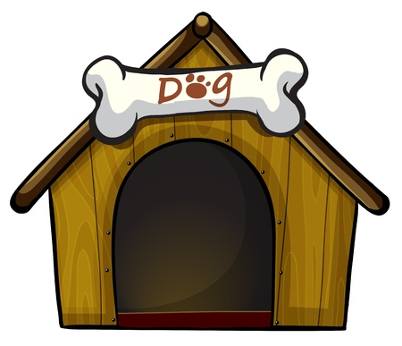 Illustration of a dog house with a bone on a white background  Illustration