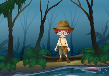 Illustration of a boy scount in the forest near the lake Vector