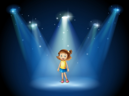 Illustration of a girl smiling in the middle of the stage under the spotlights