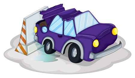 Illustration of a violet car bumping the traffic cone on a white background Stock Vector - 19959000