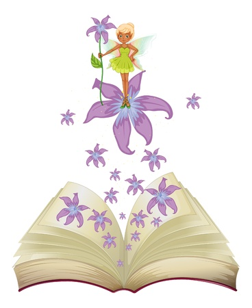 Illustration of a book with an image of a fairy and flowers on a white background   Vector