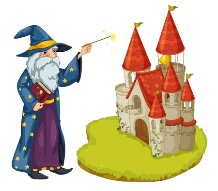 flaglets: Illustration of a wizard holding a book and a magic wand in front of the castle on a white background