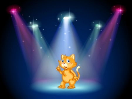 centerstage: Illustration of a cat in the middle of the stage under the spotlights Illustration