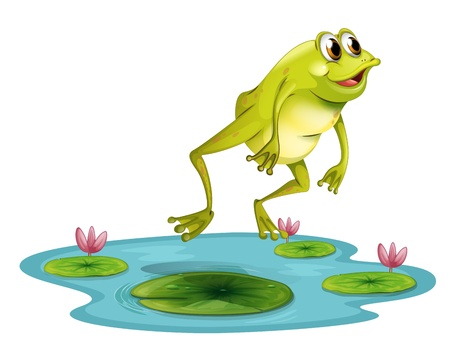 Illustration of a jumping frog at the pond on a white background Illustration