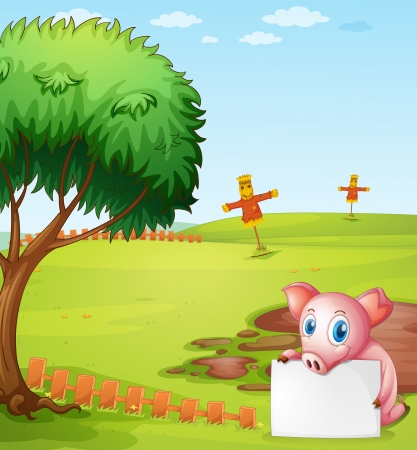Illustration of a pig holding an empty board at the farm Vector