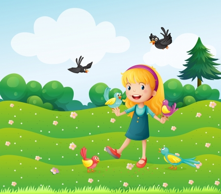 Illustration of a girl surrounded by many birds Vector
