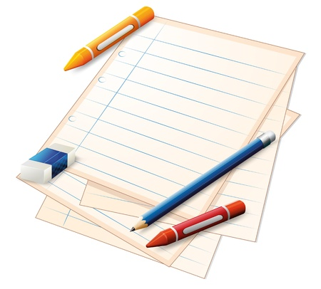Illustration of an empty paper with crayons, a pencil and an eraser on a white background  Vector