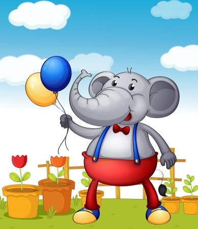 Illustration of an elephant holding balloons with pots of flower at the back Vector