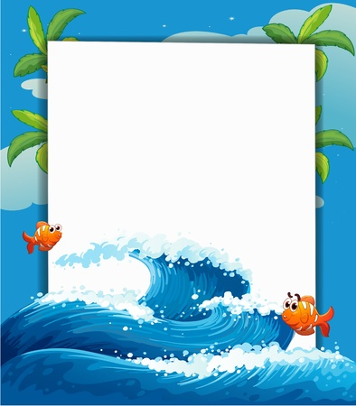 Illustration of an empty signage along with the big wave and fishes Vector