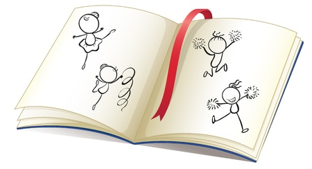 nonfiction: Illustration of a book with a ribbon and images of kids dancing on a white background