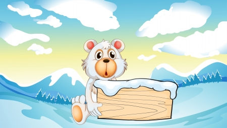 menu land: Illustration of a bear holding an empty wooden board at the snowy mountain