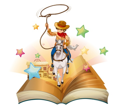 storyteller: Illustration of a book with a cowboy holding a rope on a white background