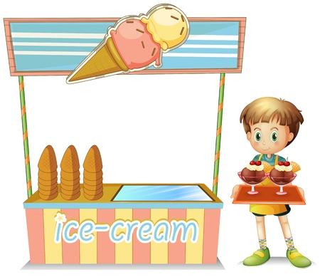 carretto gelati: Illustrazione di un ragazzo con un vassoio accanto a un gelato carrello su uno sfondo bianco Vettoriali