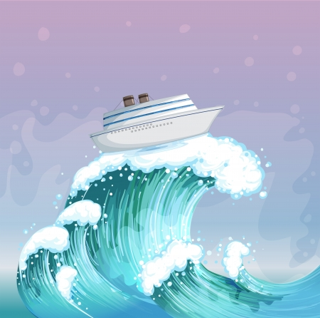 Illustration of a boat above the big wave Stock Vector - 19959212