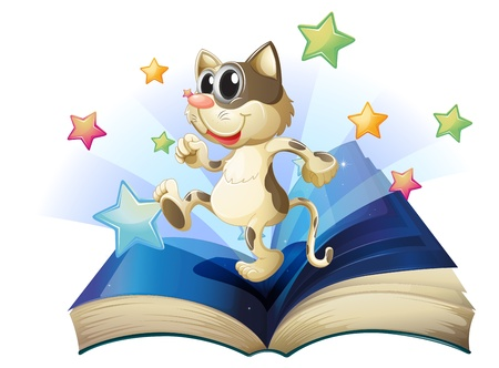 storyteller: Illustration of a book with a dancing cat on a white background Illustration