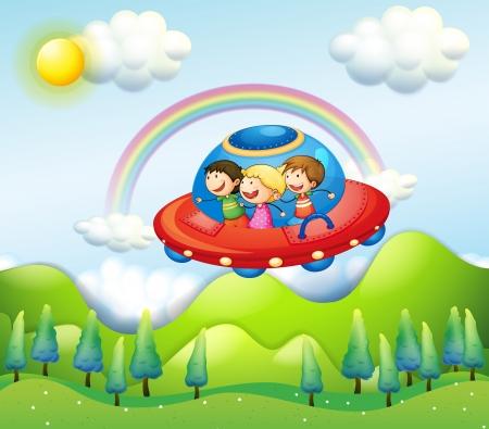 Ilustración de los tres niños que viajaban en la nave espacial