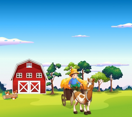 Illustration of a boy riding on a carriage with a barn at the back  Vector