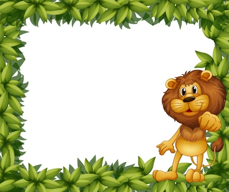 사자와 녹색 잎 프레임의 그림 일러스트