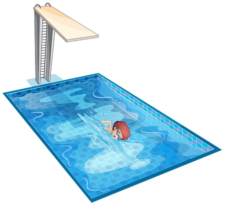 swimming pool: Illustration of a boy rehearsing at the swimming pool on a white background Illustration