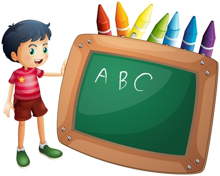 Illustration of a boy holding the blackboard with crayons at the back on a white background  Vector