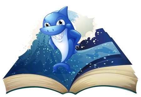 Illustration of a book with an image of a big smiling shark on a white background  Vector