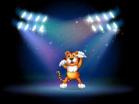stageplay: Illustration of a tiger raising her hands at the stage under the spotlights Illustration