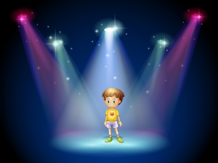 stageplay: Illustration of a little man in the middle of the stage with spotlights Illustration