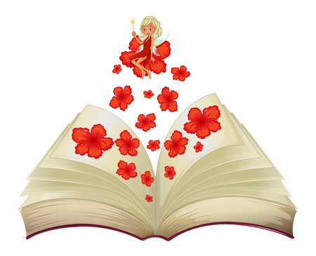 storyteller: Illustration of a book with an image of a flower and a fairy on a white background