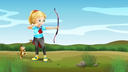 targetting: Illustration of a girl holding an archery with a monkey at the back Illustration