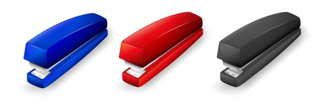 school things: Illustration of the three different colors of staplers on a white background Illustration