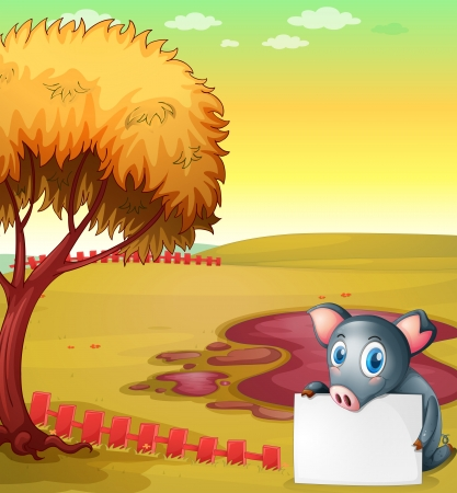 Illustration of a pig holding an empty board at the pig farm Vector