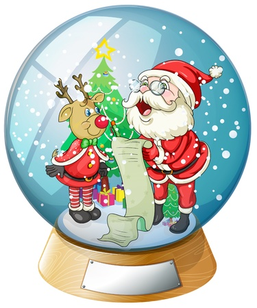 Illustration of Santa Claus holding a list inside the snow ball with a reindeer
