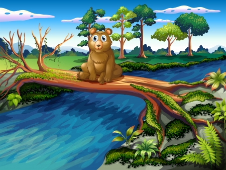 deep roots: Illustration of a bear sitting at the center of the wooden bridge