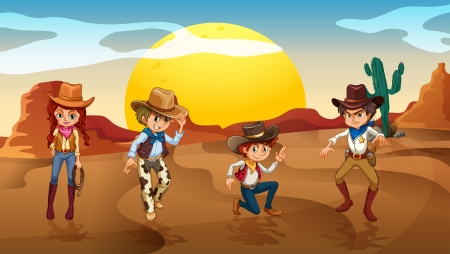 cowboys: Illustration of the cowboys and a cowgirl at the desert