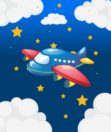 Illustration of a plane in the sky with many stars Stock Vector - 19958988