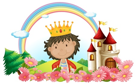 hill of the king: Illustration of a king in front of a castle on a white background