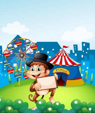 Illustration of a monkey holding a frame in front of the carnival Vector